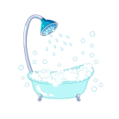 Vintage claw-foot bathtub with foam and bubbles, nice illustration of taking a shower
